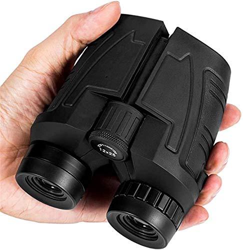 Binoculares compactos de 12 x 25 con luz tenue clara, ocular grande a prueba de agua Binocular para adultos y niños, inoculares de alta potencia y enfoque fácil para observación de aves, viajes
