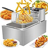 Electric Deep Fryer Countertop Stainless Steel, Commercial Fryer with Temperature Control, French Fries Fryer with Basket, for Commercial Restaurant, Fast Food Restaurant (6L)