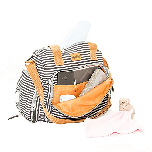 Best Diaper Bag by Adzostar Babies. Stylish & Trendy Washable Nappy Bag with In-built Insulated Bottle Pocket, 11 Pockets Multi-functional Waterproof Diaper Bag Organizer, Designed in London