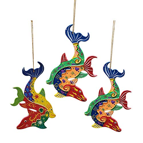 Stoneage Arts Crazy Art Nature Wild Animals Hanging Ornament Décor Brightens Any Christmas Tree Holiday Arrangement Technicolor Unique Patterns Hand Painted Design (Dolphin)