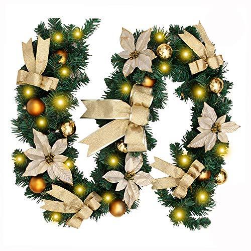Morbuy Décoration de Noël Lumineuse Guirlande de Sapin, Intérieur Extérieur LED Mode 8 à Distance Vert Décor de Noël pour Mariage Anniversaire Fête Les Escaliers de Porte 270 cm (Jaune)