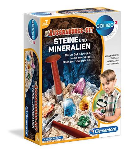 Clementoni 69940 Galileo Science – Ausgrabungs-Set Steine + Mineralien, Spielzeug für Kinder ab 7 Jahren, Ausgraben mit Hammer & Meißel, für kleine Forscher