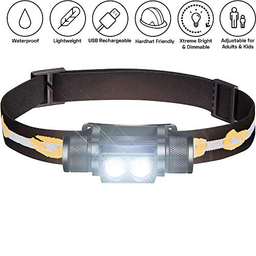 SLONIK 1000 Lumen Rechargeable 2x CREE LED Headlamp w/ 2200...