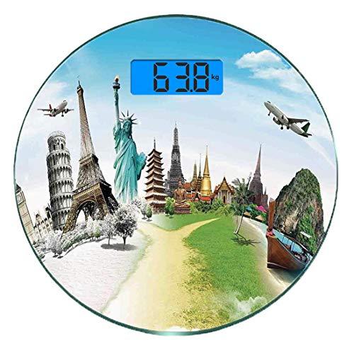 Digitale Präzisionswaage für das Körpergewicht Runde Reise Ultra dünne ausgeglichenes Glas-Badezimmerwaage-genaue Gewichts-Maße,Flugzeugflug über Monumenten und Wunder des Welteiffel-Thailand-Bildes,