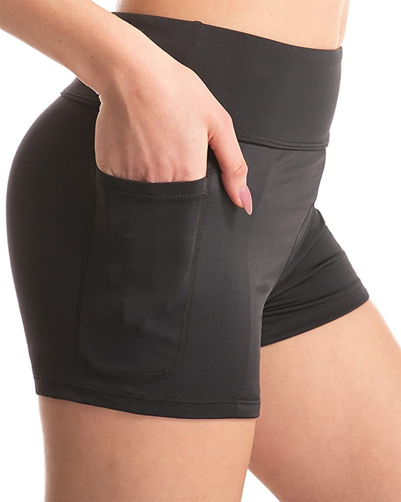 KEEPRONE Women's Swim Shorts High Waist Swimsuits Shorts Boy Short with Two Side Pockets