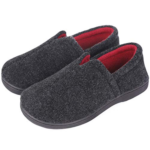Women's Comfort Micro Wool Felt Memory Foam Loafer Slippers Anti-Skid House Shoes for Indoor Outdoor Use (7 M, Black)