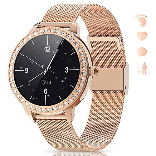 GOKOO Smartwatch Mujer Reloj Inteligente IP68 Impermeable Calorías Pulsómetro Monitor de Sueño Notificaciones Inteligentes Control de Musica Reloj Deportivo Compatible con Android iOS(Dorado)