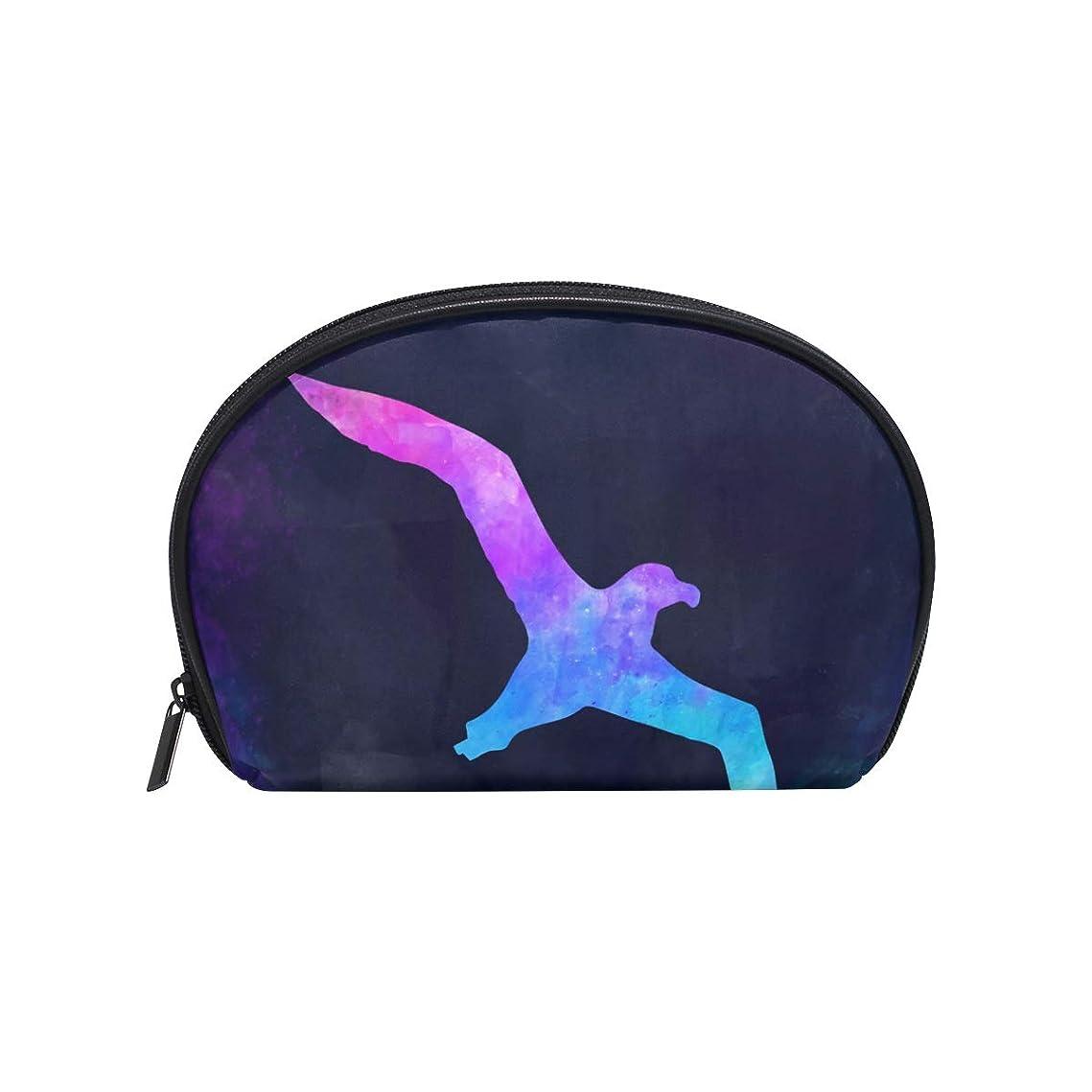 ながら一回関連する半月型 洋風 鳥 水彩 化粧ポーチ コスメポーチ コスメバッグ メイクポーチ 大容量 旅行 小物入れ