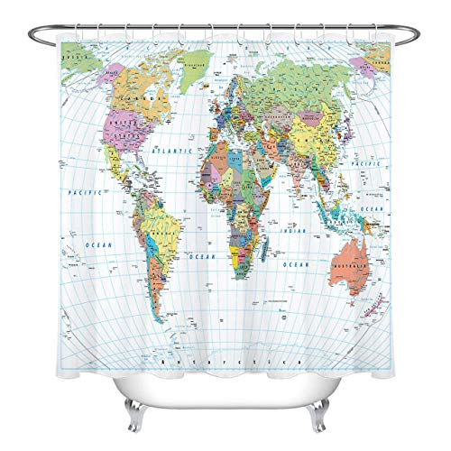 tttttt Colorido Mapa del Mundo Patrón Baño Impermeable Cortina de Ducha de Tela 183 * 183CM