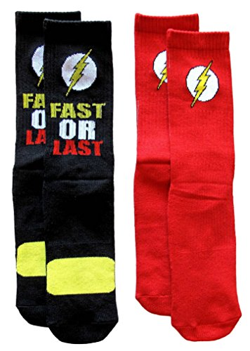 DC Universe Flash Athletic Crew Socks 2 Pair Pack