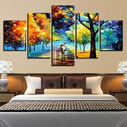 AMOHart Leinwanddrucke Wandkunst HD 5 Stück zu Fuß in die Regenlandschaft Poster abstrakte Farbe Baum Malerei Home Decor Drucke auf Leinwand Rahmen