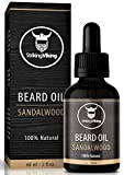 Sandalwood Beard Oil (Large 2 oz) - 100% Natural Beard Conditioner with Organic Tea Tree, Argan and Jojoba Oil with Sandal Wood Scent - Softens, Smooths, and Strengthens Beard Growth by Striking Viking