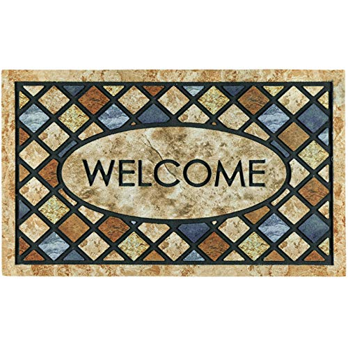 CHICHIC Door Mat, Welcome Mat 17x 30 Inch Front Door Mat Outdoor for Home Entrance Outdoor Mat for Outside Entry Way Doormat Entry Rugs, Heavy Duty Non Slip Rubber Back Low Profile,Blue Welcome