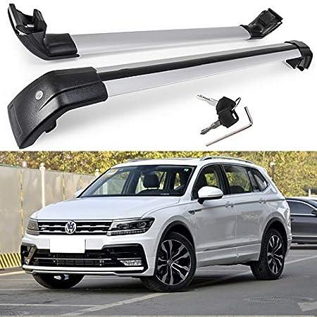 MotorFansClub Roof Racks Cross Bars Fit for Compatible with Volkswagen Tiguan 2018 2019 Crossbars Baggage Cargo Luggage Racks Rail Lockable Aluminum 2 PCS