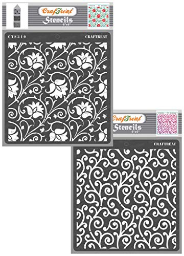 CrafTreat Pattern Stencils for Painting on Wood, Wall, Tile, Canvas, Paper, Fabric and Floor - Arabesque and Swirly Swirls Stencil - 2 Pcs - 6x6 Inches Each - Reusable DIY Art and Craft Stencils