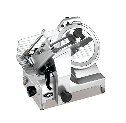 KWS MS-12HP Premium 450w Electric Meat Slicer 12-Inch Stainless Blade With Commercial Grade Carriage, Frozen Meat/Cheese/Food Slicer Low Noises Commercial and Home Use