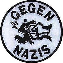 Gegen Nazis - Aufnäher Motiv crushed H-Kreuz Farbe: Weiß/Schwarz