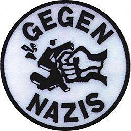 Gegen Nazis - Aufnäher, Farbe: Weiß/Schwarz