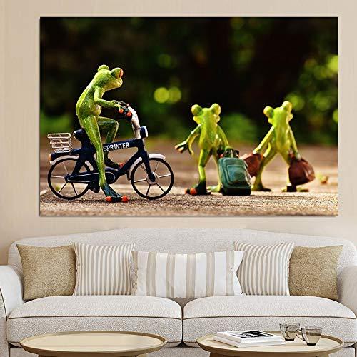 ganlanshu Rahmenlose Malerei Leinwandmalerei Frosch Spielzeugwagen Wagen nach Hause Fahrrad Eule Liebe Poster Ölgemälde artZGQ3749 70X112cm