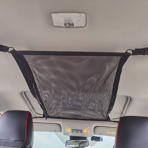 Car Ceiling Double Layer Storage Net SUV Interior Trunk Roof Cargo Mesh Holder