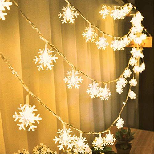 AOXING 5M 50LED de Navidad copo de nieve cadena de luces decoraciones de invierno hadas decoración caja de batería colgante árbol de Navidad interior exterior para Navidad fiesta en casa (A)