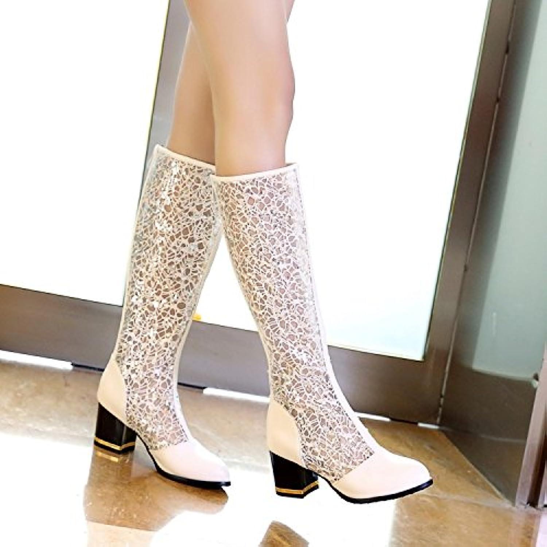 AGECC Damen Stiefel Bequeme Schne Durable Weiß Gold Spitze Durchbrochene Dicke Mit Hoher Rhre Mit Grobem Mosaik Hohl Gaze Stiefel