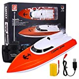 Remote Control Boat, High Speed 2.4GHz Remote Boat 180 Degree Auto Flip Recovery, Electric RC Boat Toys for Indoor & Outdoor Pool & Lakes, Adults & Kids