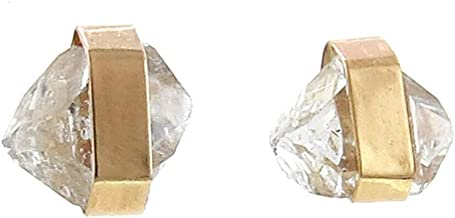 product image for Melissa Joy Manning 14k Gold Bezel Wrapped Herkimer-Diamond Stud Earrings