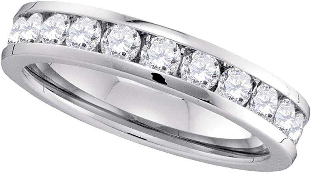 Solid 14k shopping Factory outlet White Gold Round Rin Wedding 4.5mm Diamond Channel-set