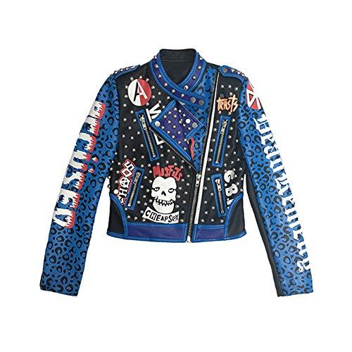 Biddtle Chaqueta De PU Cuero para Mujer Slim Fit Cazadoras con Cremallera Alfabeto Pintada Impresión Punk Casual Abrigos Jacket,XL