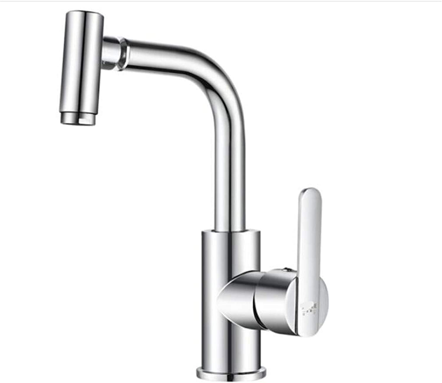 Bathroom Sink Basin Lever Mixer Tap Face Basin Cold and Hot Water Faucet 360 Degree redary Single-Hole Face Basin Faucet