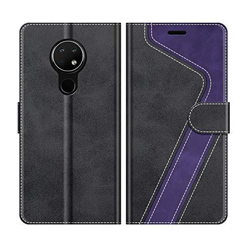 MOBESV Handyhülle für Nokia 7.2 Hülle Leder, Nokia 7.2 Klapphülle Handytasche Case für Nokia 7.2 Handy Hüllen, Schwarz/Violett