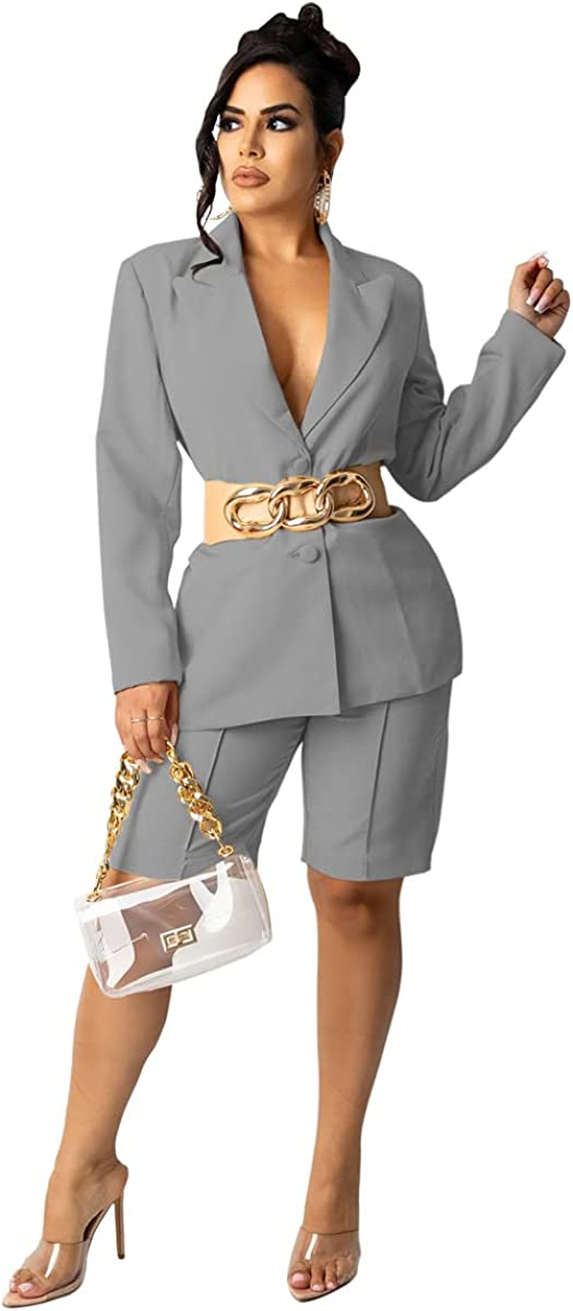 Pulkritu Women Knee-Length Pants Suit - Office Lady Blazer Tops and Pants Matching Two 2 Piece Set Outfits (XXL,Grey)