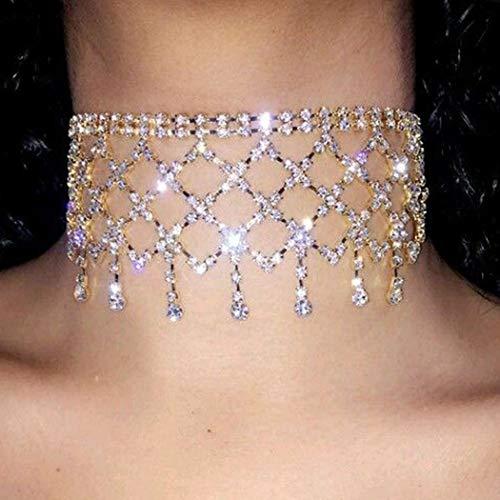 Sethain Boho Strass Choker Gold Sparkly Anhänger Kette Night Club kurz Halsketten Schmuck für Frauen und Mädchen
