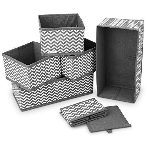Navaris 6X Caja de Tela para almacenaje - Set de 6X Cubo Plegable Organizador de cajones - Cajas para Almacenamiento de Ropa Juguetes - Gris y Blanco