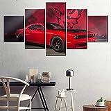 5 Panel/Set Lienzos Handart Cuadro En Lienzo Cinco Partes HD Clásico Óleo Impresiones Decorativas Cartel Arte Pared Pinturas Hogar Lienzo Coche del Músculo Rojo