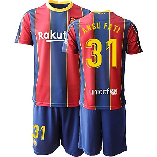 BASTB 2020/21#31 Ansu Fati, Home Jersey, kit de uniforme de fútbol para hombre, manga corta y pantalones 10-XXL, #31 Rojo, S/M