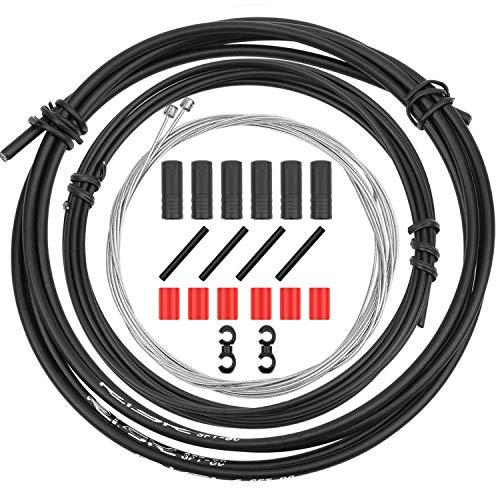 CTRICALVER - Juego de cables de cambio de bicicleta y kit de carcasa - Juego de piezas de repuesto para bicicleta universal para bicicleta de montaña y bicicleta de montaña, color negro