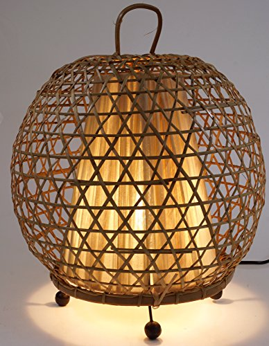 Guru-Shop Tischlampe/Tischleuchte Miguel - in Bali Handgemacht aus Naturmaterial, Bambus, 38x32x32 cm, Dekolampe Stimmungsleuchte