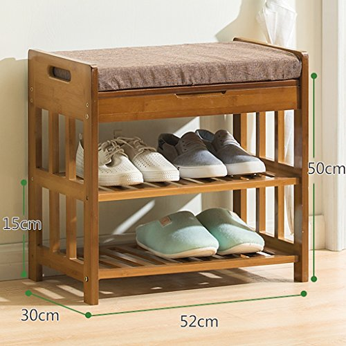 Boven de deur Houten Schoenenrek Bank, Schoenkast met opbergvak en kussen, Bamboe Schoenenstandaard plank, 52x50x30cm