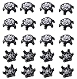 sansheng 20PCS Easy to Change Studs, Anti-Skid Golf Shoes, Golf Studs/(Black)