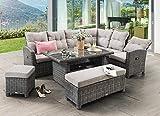 Destiny Santa Ponsa Deluxe - Conjunto de muebles de jardín (polirratán), diseño vintage, color marrón