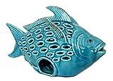 keyhome decorazione in ceramica pesce con cresta turchese portacandela in ceramica design mare soprammobile casa mare - lunghezza cm 40