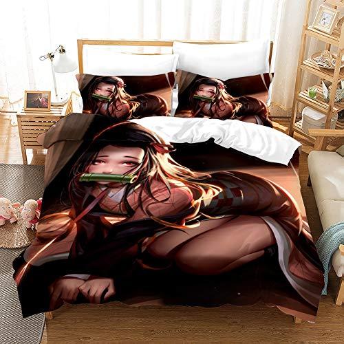 Wnmbmg Demon Slayer: Kamado Nezuko Bettwäsche Bettbezug-Set 3 Stück, for Teens Kinderzimmer Warm 1 Bettbezug 2 Kissen Shams 3D-Druck mit Reißverschluss (No Tröster) (Größe : US Queen(228x228cm))