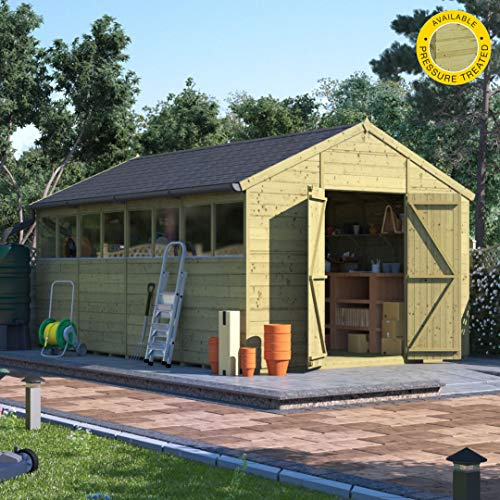 BillyOh Expert Tongue and Groove Apex Workshop Pressure Treated | Premium Garden Storage Shed | Includes Floor, Roof and Felt | Windowed and Windowless Options - Range of Sizes (Windowed, 16x10)