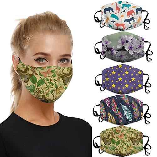 riou 5 Stücke Mundschutz mit Motiv Waschbar Baumwolle Atmungsaktive Staubdicht Mund und Nasenschutz Face Covering für Damen Herren