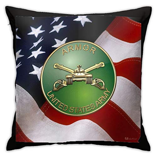 DASHABI U.S. Army Armor - Branch Insignia Over U. S. Flag Throw Pillow Covers 18x18 Pillow Cases