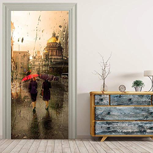 Deur Sticker77X200Cm Gouden Vriendschap Paraplu Muurschilderingen Muurstickers Deur Sticker Wallpaper Decals Home Decoratie