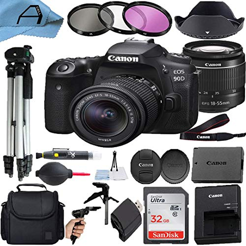Canon EOS 90D DSLR Camera 32.5MP Sensor with EF-S 18-55mm Zoom Lens, SanDisk 32GB Memory Card, Case, Tripod, 3 Pack Filters and A-Cell Accessory Bundle (Black)