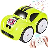 XINHOME RC Cartoon Car Track Cute Mini Interactive Cars 2.4GHz Remote Control Car Toys with Music and Sound, 4 Modes for Toddlers Kids Boys Girls (Green)